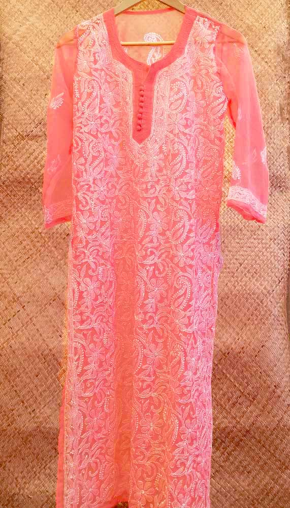 Elegant Georgette Long Kurta with Chikankari Size - 36