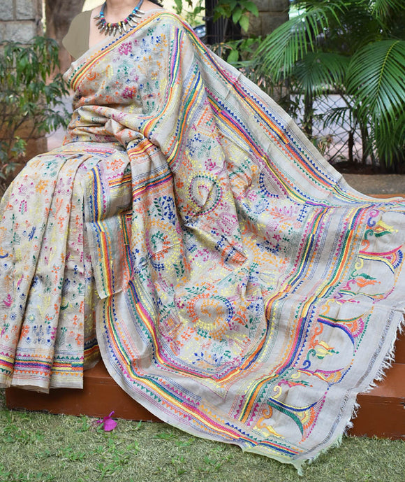 Hand Embroidered Kantha work Tussar Silk saree
