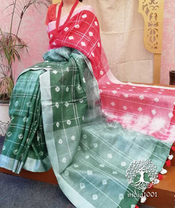 Beautiful Linen Saree with Bandhani work