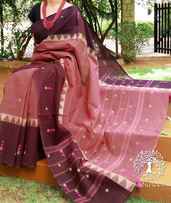 Elegant Hand Embroidered Woven Cotton saree