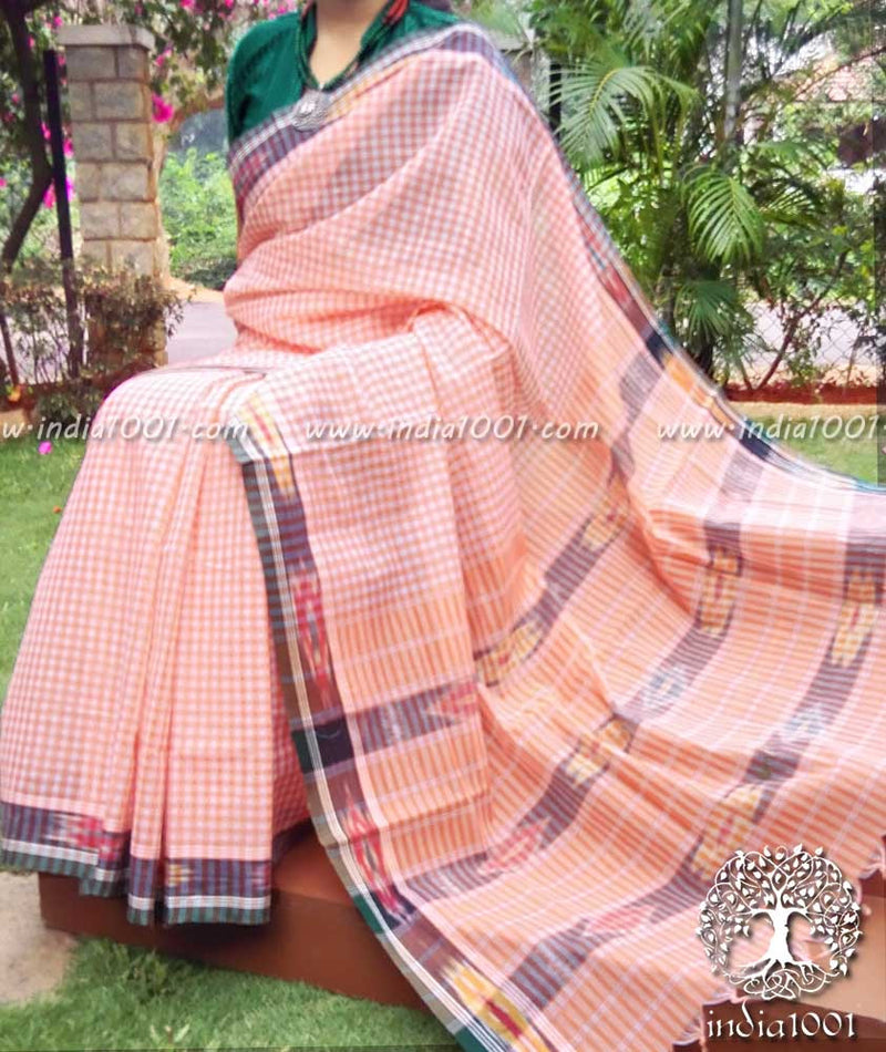 Woven Andhra Cotton Saree with Ikkat weave(without BP)