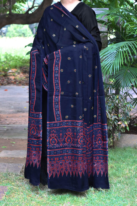 Elegant Modal Silk Ajrakh Block Print Dupatta with Mirror & Embroidery Work