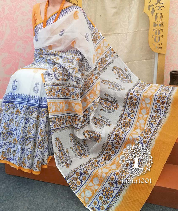 Elegant Kota cotton Saree with Hand block print(with BP)