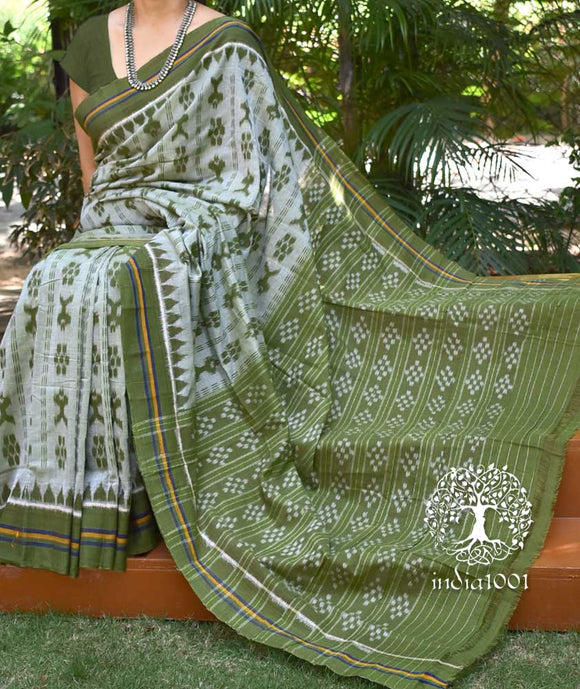 Elegant Handloom Orissa Ikkat Cotton Saree with fish motifs ( without BP)