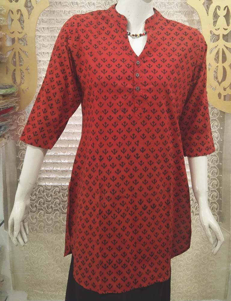 Elegant Block Print Cotton Medium Length Kurta - Size -42