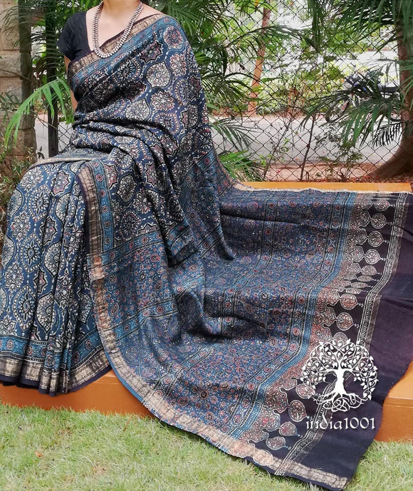 Hand Block Print Kutch Ajrakh Maheshwari si-co saree