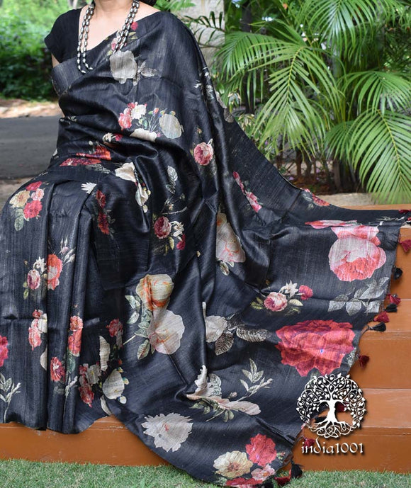 Beautiful Geecha Silk Saree with digital print