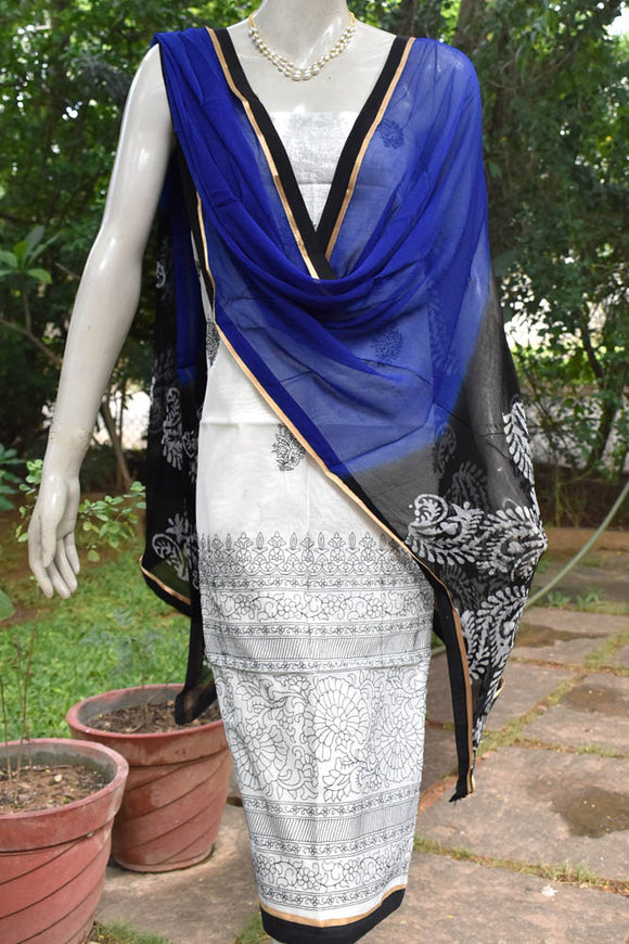 Chanderi  & Cotton Suit with Embroidery
