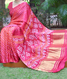 Hand-Crafted Pure Gajji Silk Bandhani Saree