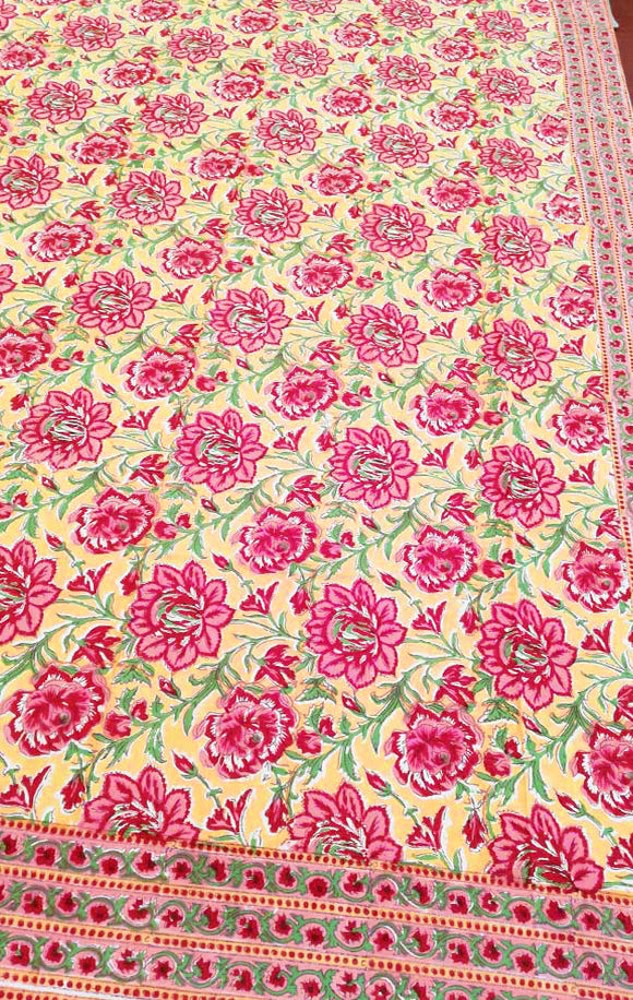 Hand block printed Single Bed sheet