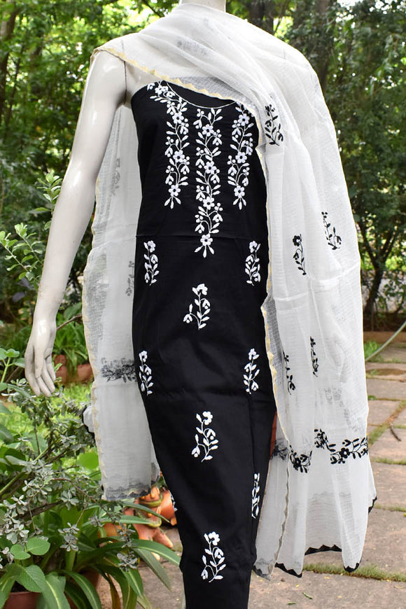 Elegant Cotton & Faux Kota Unstitched Kurta & Dupatta set with Hand done Phool patti work
