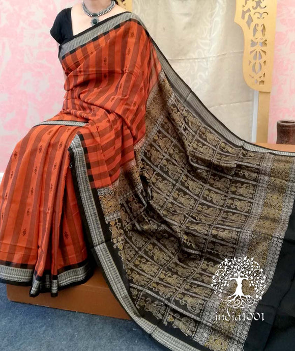 Elegant Handwoven Stripe booti Bomkai cotton Saree