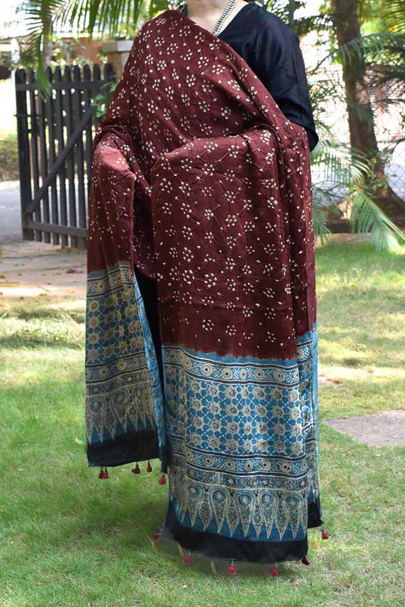 Beautiful Bandhani Ajrakh Modal Silk Dupatta with intricate Bandhani patterns