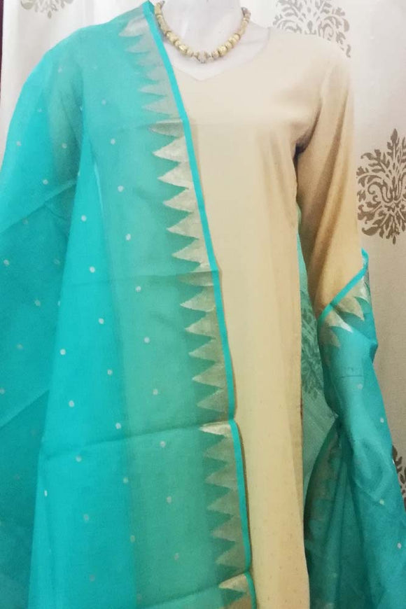 Kota silk dupatta with Zari border & Woven bootis