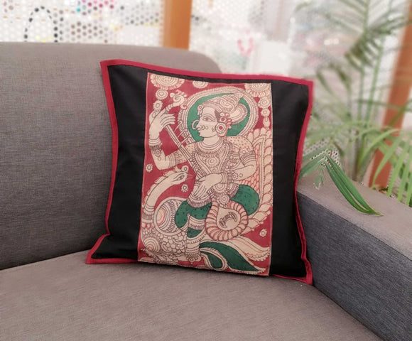 Silk Cotton Cushion Cover with Handpainted Kalamkari patch