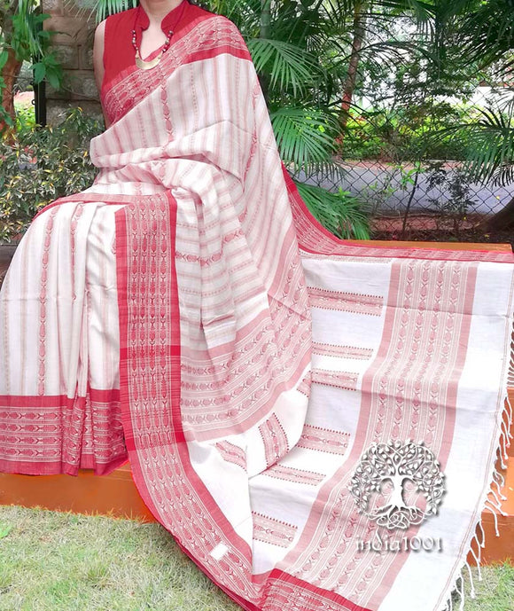 Elegant Bengal Cotton Saree with Fish motif & Jamdani palla