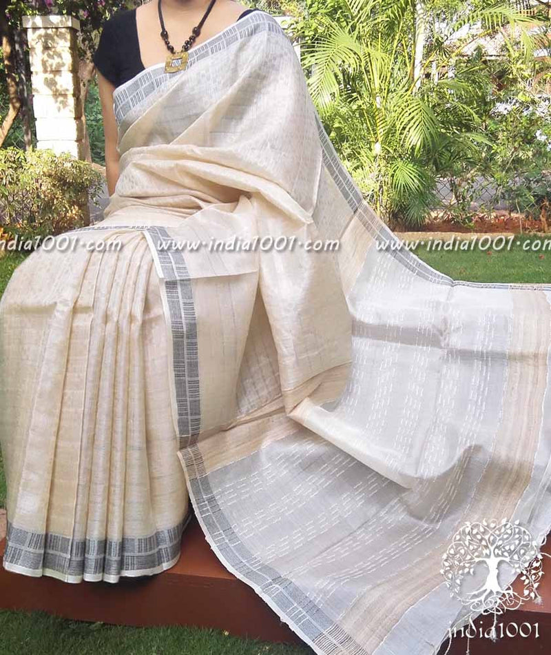 Elegant Tussar Silk Saree with woven patterns