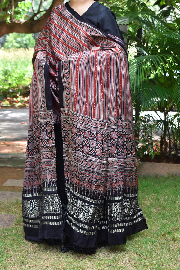 Elegant Modal Silk Ajrakh Block Print Dupatta with crush zari palla