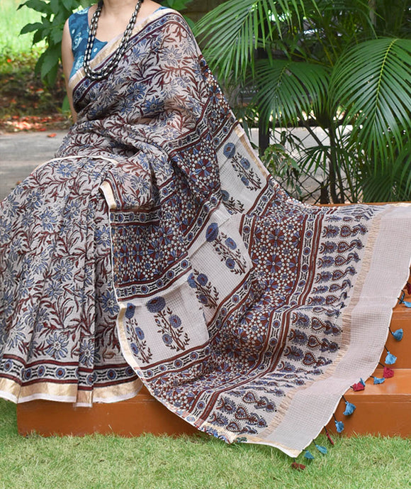 Hand Block Print Kutch Ajrakh Kota Cotton Saree