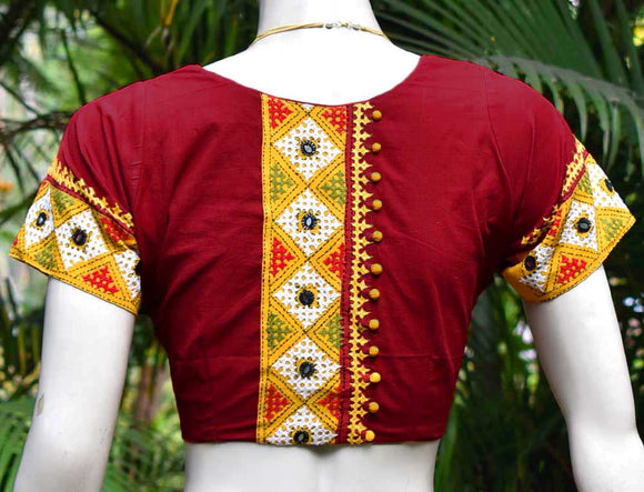 Cotton Blouse with Hand embroidery & Mirror work - size 42