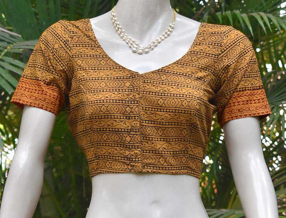 Block Printed cotton Blouse - Size 38