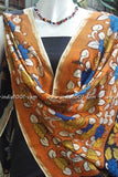 Hand Painted Kalamkari Chanderi Dupatta with mirror work