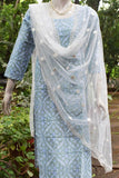 Block Printed Cotton Kurta with embroidery & sequins with embroidered net dupatta
