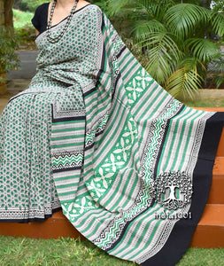 Beautiful Sanganer Hand Block Printed Cotton Saree