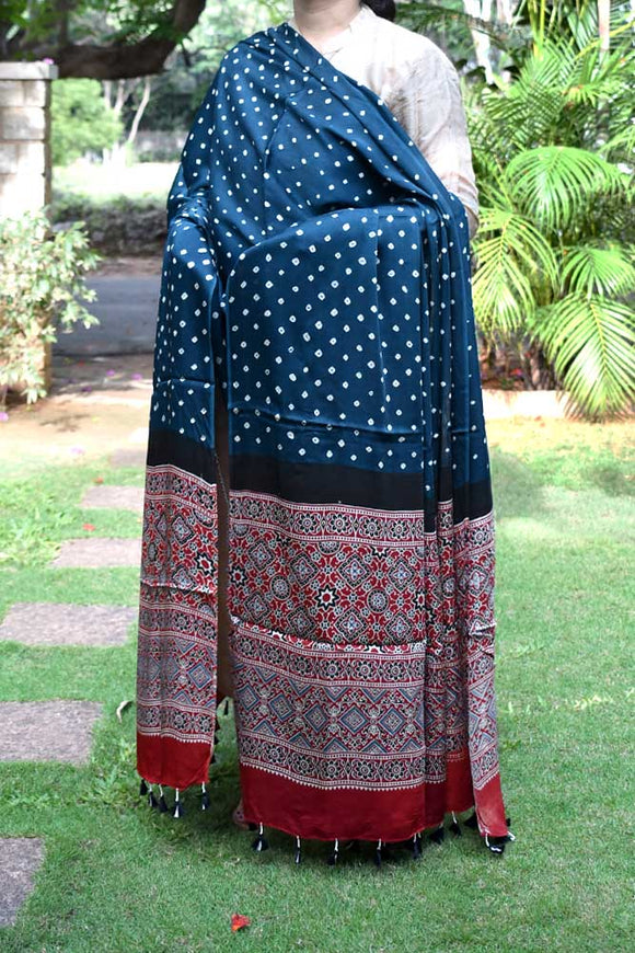 Beautiful Bandhani Ajrakh Modal Silk Dupatta