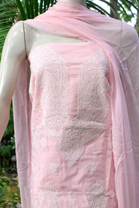 Elegant Hand Embroidered Chikankari Voile cotton unstitched suit