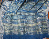 Elegant Hand Block Printed Ajrakh Si - co Saree with Zari border