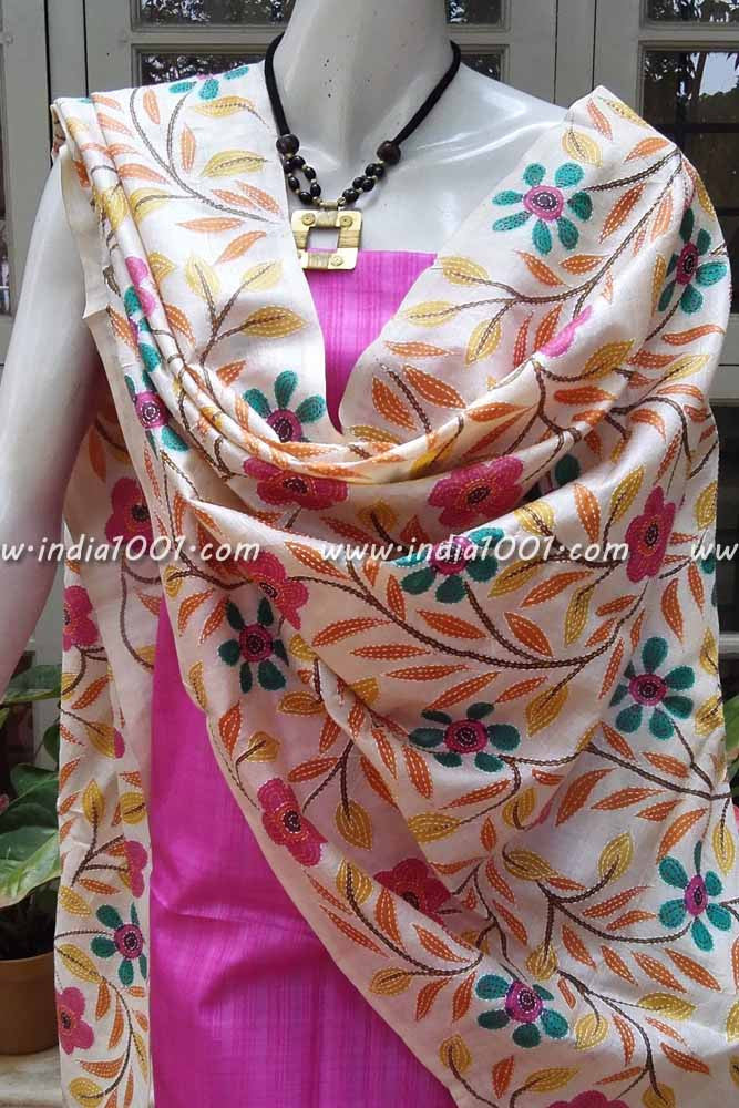 Silk Dupatta with kantha work & Silk Kurta Fabric