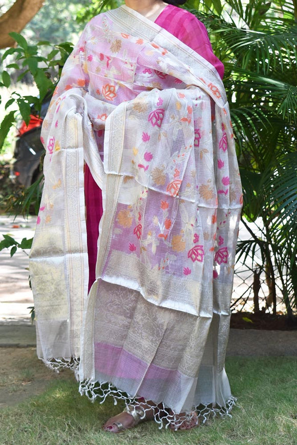 Kota Silk Cotton Dupatta with intricate woven jaal