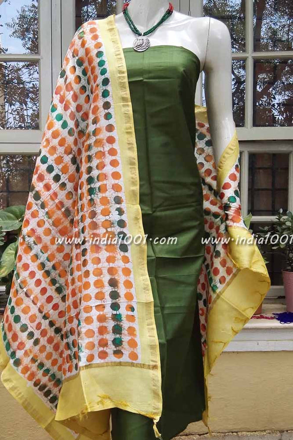 Designer Hand Crafted Chanderi Dupatta with Wax Batik work