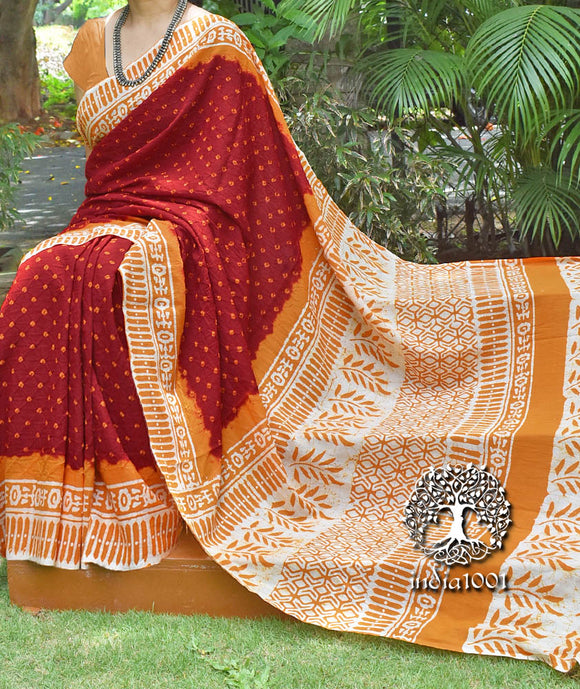 Beautiful Hand-Crafted Cotton Batik Bandhani Saree