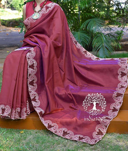 Elegant Dhoop Chaon Silk Cotton saree with Cut work