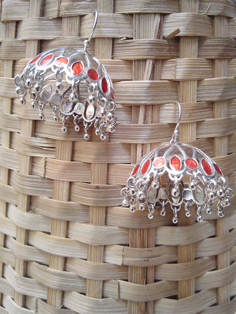 Designer Sterling Silver Jhumka with enamel work