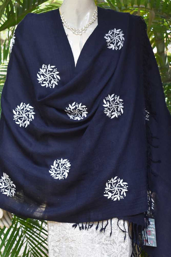 Fine Angora Wool Stole from Himachal with Chikankari Work