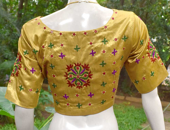 Beautiful Mashru Silk Fabric Blouse with Kutch Work Embroidery- size 42
