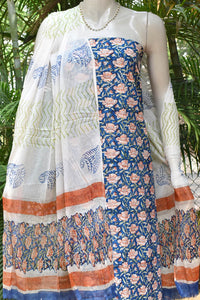 Beautiful Block Printed Cotton unstitched suit fabric with Chiffon dupatta