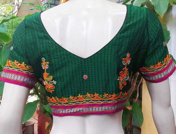 Beautiful Khunn Blouse with Kutch Hand Embroidery Size - 38