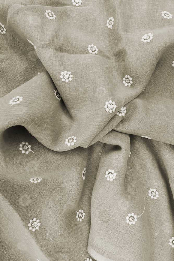 Elegant Embroidered Linen Cotton Fabric
