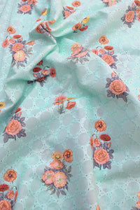 Digital print cotton fabric with cutwork & embroidery (2.5 mtrs cut)
