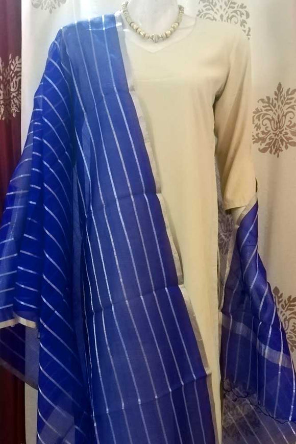 Kota silk dupatta with Zari border & woven stripes..