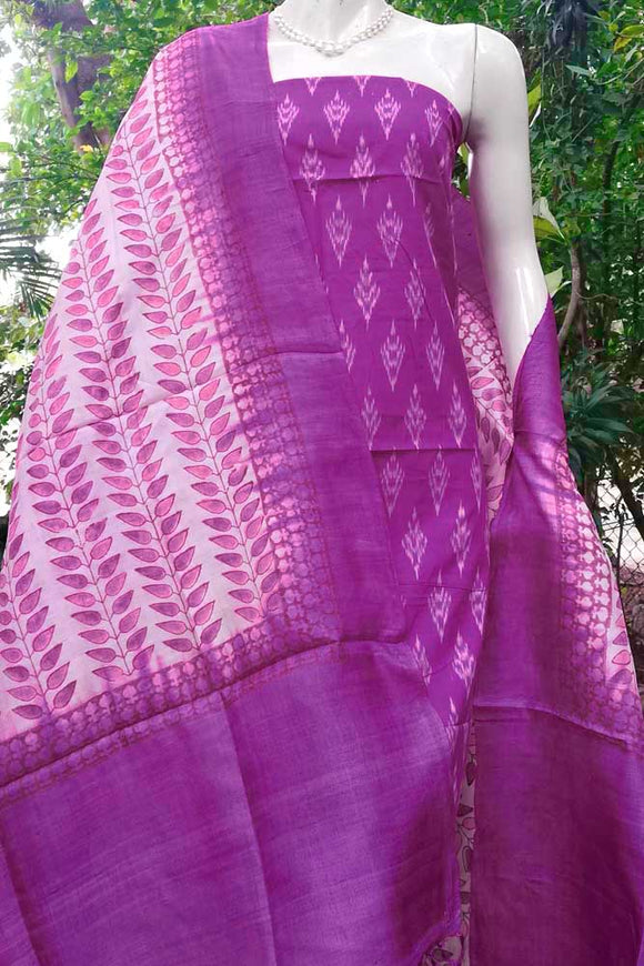 Elegant Tussar Silk dupatta with Mercerized Ikkat Kurta