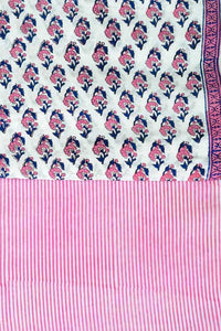 Hand Block Printed Cotton Running Fabric combo ( 2 fabrics *2.5)