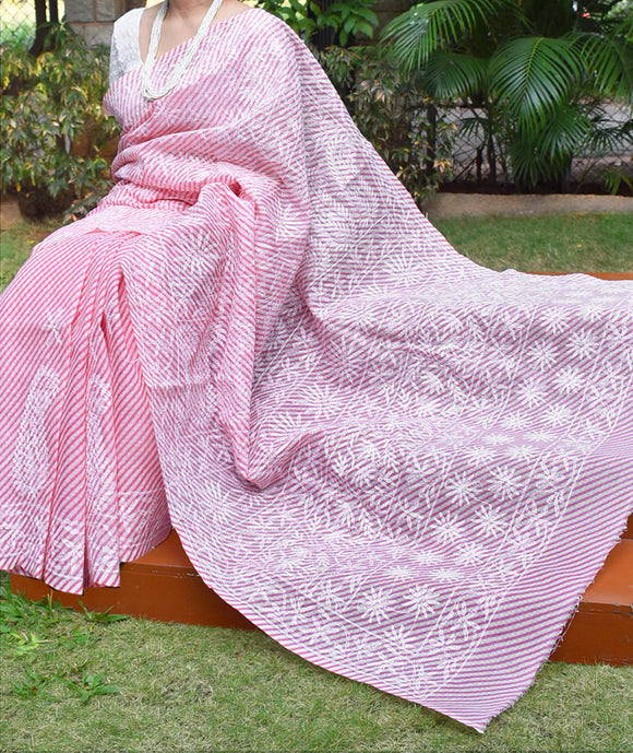 Faux Kota cotton Saree with Tepchi work / Lucknowi Chikan work ( with BP)