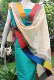 Elegant Cotton Dupatta with block print & Woven borders