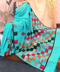 Elegant Khesh Cotton Saree with patch work