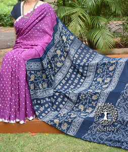 Beautiful Hand-Crafted Mul Cotton Bandhani & Block Print Saree